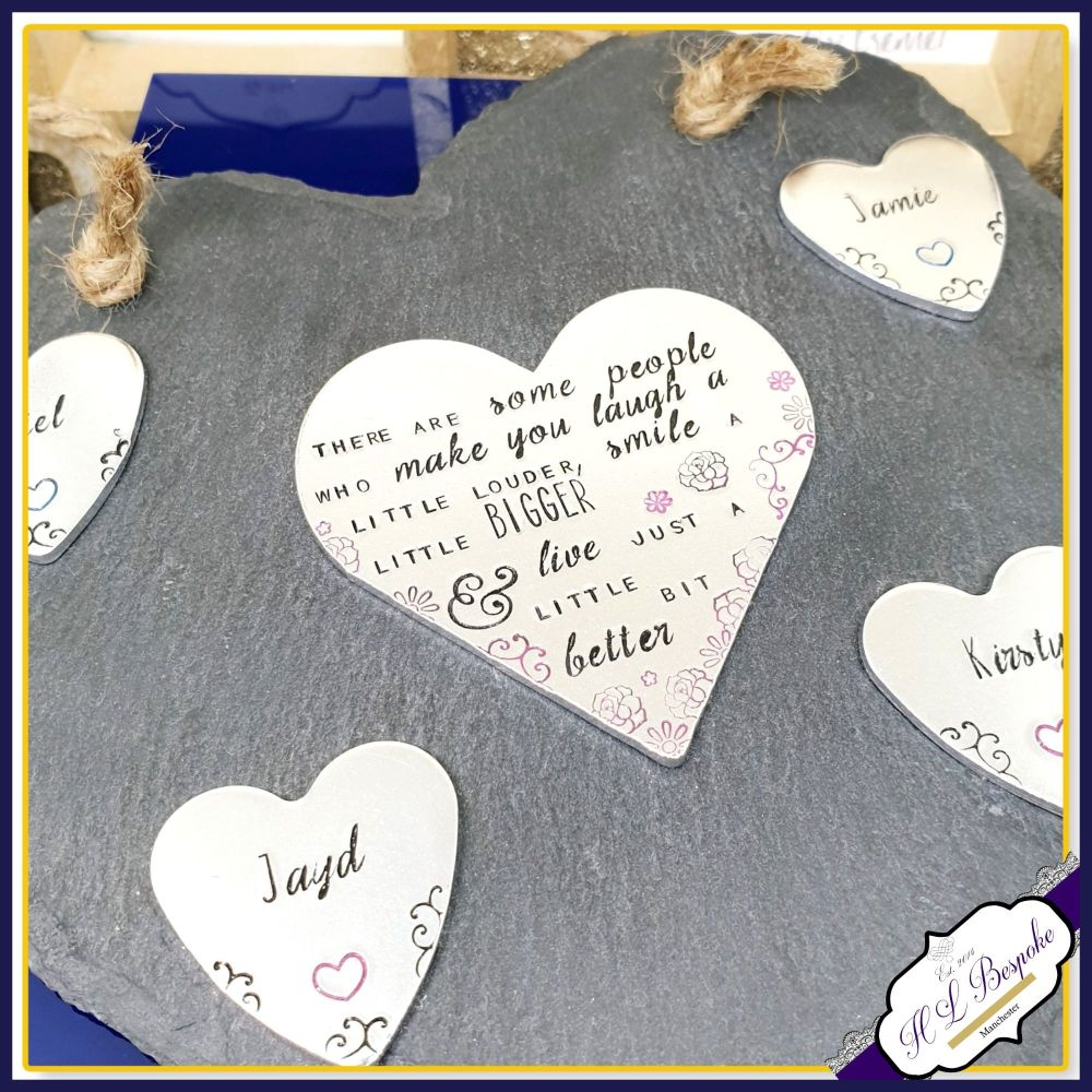 Personalised Friendship Plaque - Hanging Slate Family - Sentimental Friend