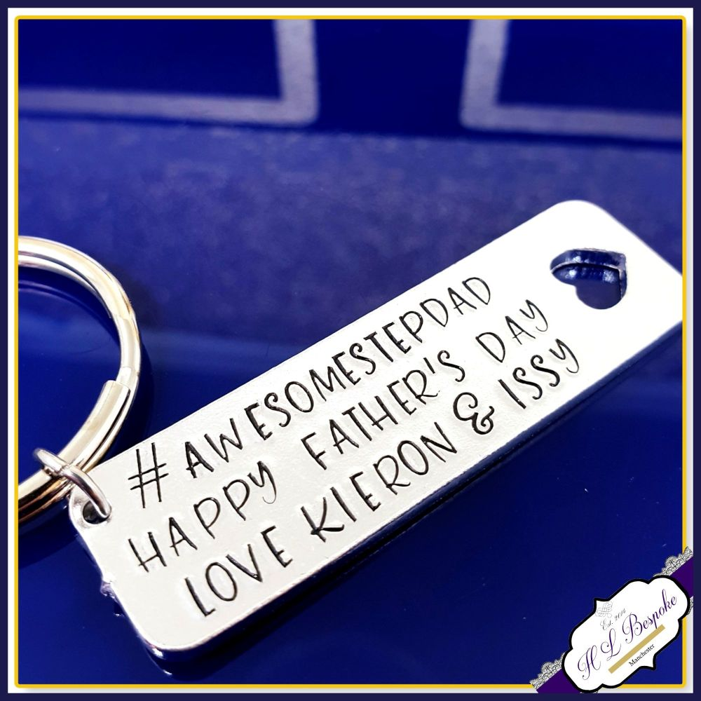 Personalised Father's Day Stepdad Keyring - Awesome Stepdad Gift - Fathers