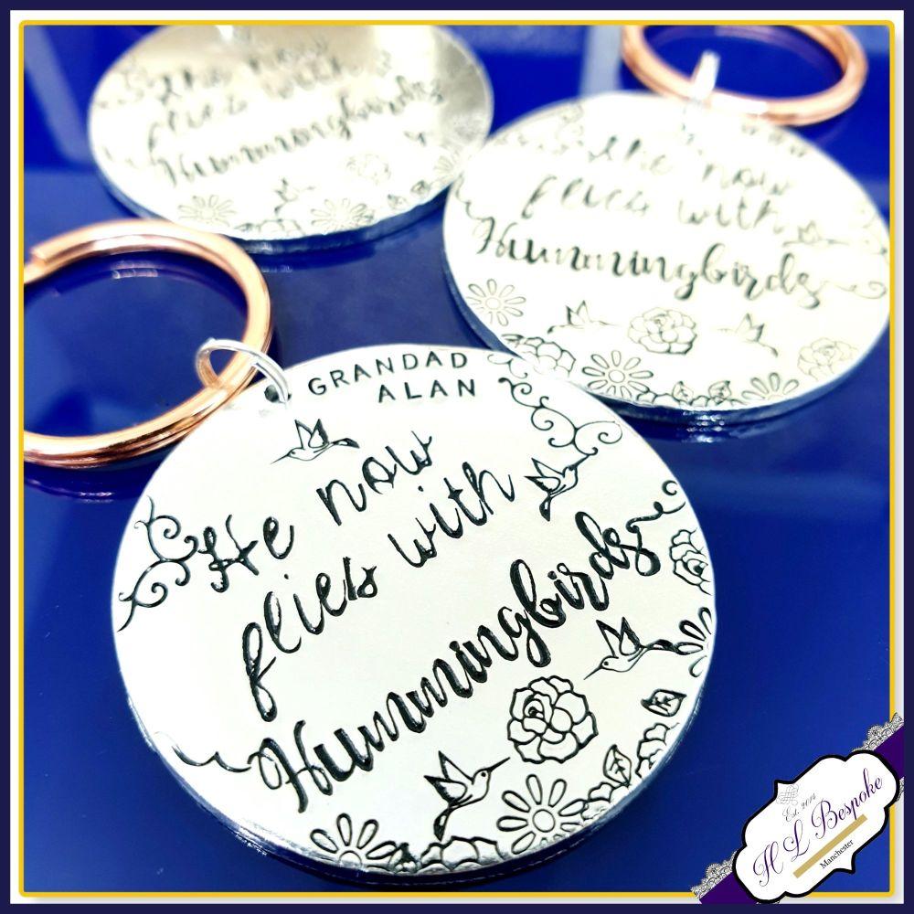 Personalised Memorial Keychain - Hummigbird Bereavement Keyring - Grandad M