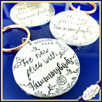 Personalised Memorial Keychain - Hummigbird Bereavement Keyring - Grandad Memorial Keyring - In Memory Of Daddy Gift - In Memory Of Gift