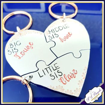 Big Middle Little Sister Gift - Keyrings For 3 Sisters - Interlocking Puzzle Keyrings - 3 Sisters Gift - Big Middle And Little Keychains