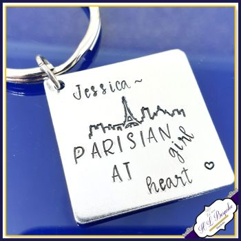 Personalised Paris Keyring - Parisian At Heart - Parisian Gift - Paris Gift - Eiffel Tower Keyring - Paris Skyline Gift - Love Paris Gift