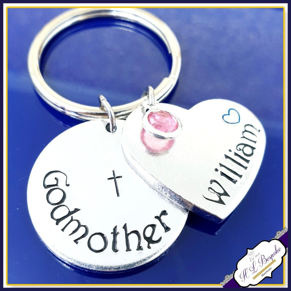 Personalised Godmother Keyring With Birthstone - Godmother Gift - Gift For