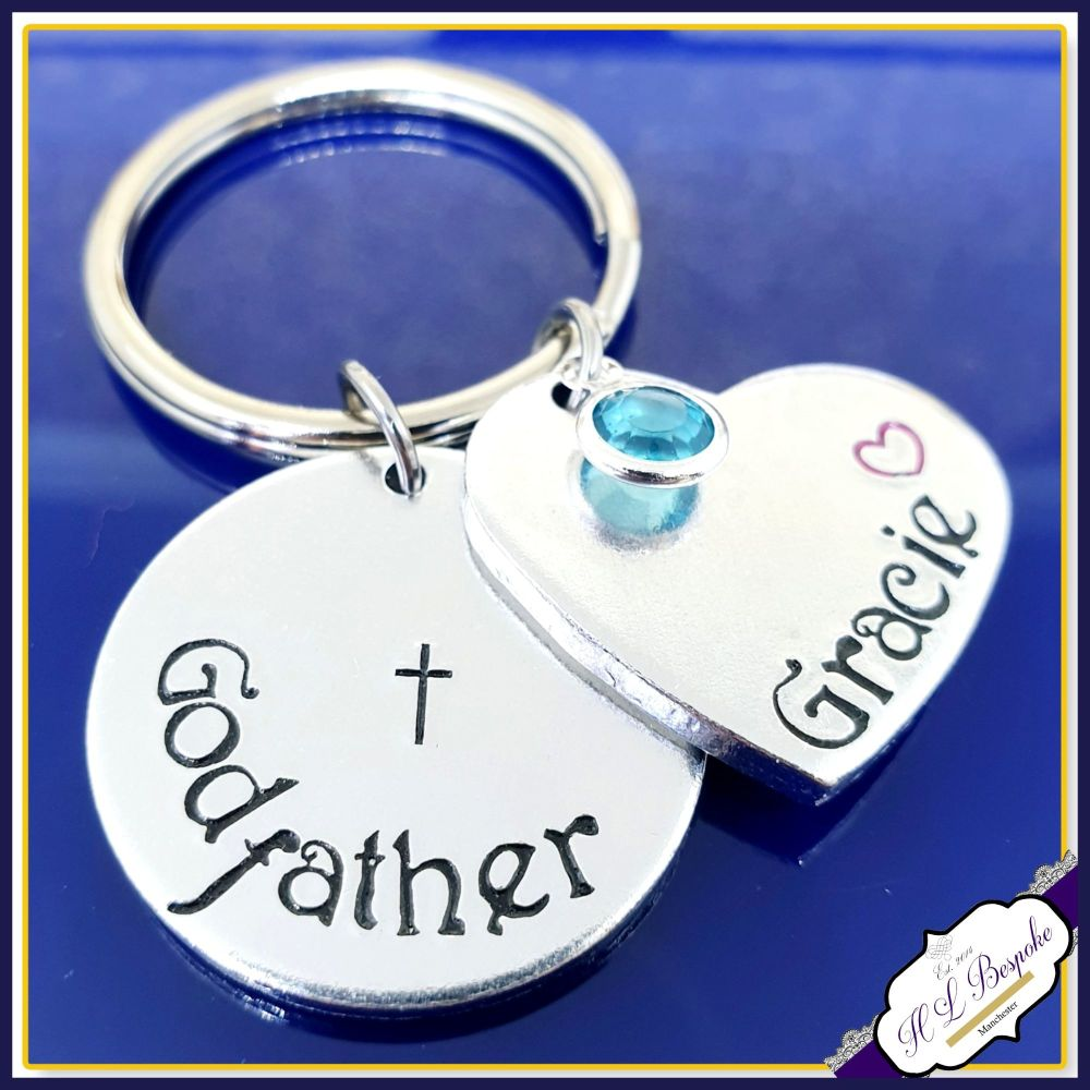 Personalised Godfather Keyring With Birthstone - Godfather Gift - Gift For