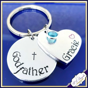 Personalised Godfather Keyring With Birthstone - Godfather Gift - Gift For Godfather - Godfather Metal Keychain - Godparent Gift - Godmother