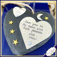 Personalised Love You To The Moon & Back Plaque - Gift For Mothers Day - Gift For Grandma - Auntie Gifts - Moon and Back Mummy - Mummy Gift