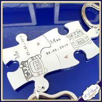 Personalised Wedding Keyrings - Puzzle Keyrings- Wedding Keychains - Mr & Mrs Gift - Interlocking Puzzle Keyrings - Jigsaw Keyrings - Day