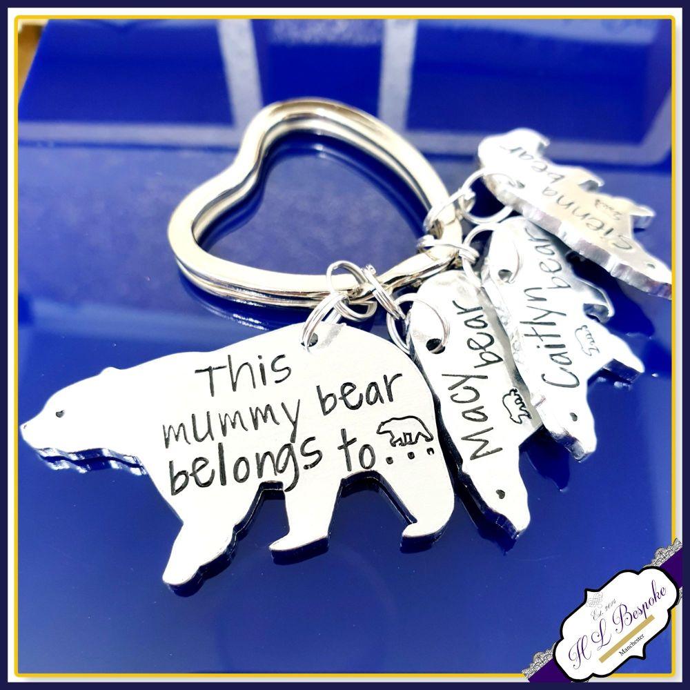 Personalised Mummy Bear Keyring - Mummy Bear Gift - Grandma Keyring - Belon