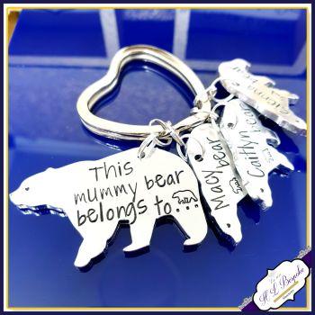 Personalised Mummy Bear Keyring - Mummy Bear Gift - Grandma Keyring - Belongs To Gift - Mummy Bear Keyring - Mothers Day Keyring - Baby Bear