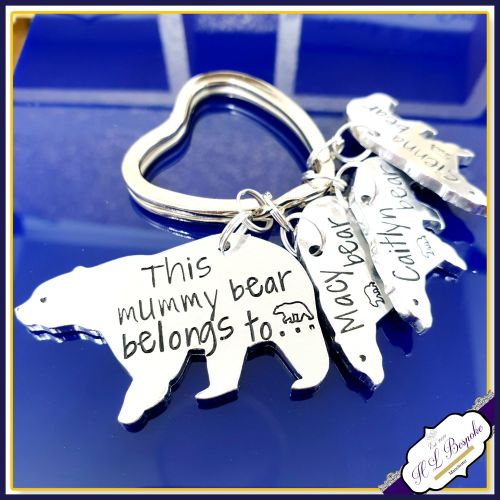 Personalised Mummy Bear Keyring - Mummy Bear Gift - Grandma Keyring - Belon