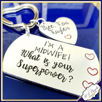 Personalised Midwife Gift - Midwife Keyring - Gift For Midwife - What's Your Superpower Keyring - Personalised Thank You Midwife Doua Gift