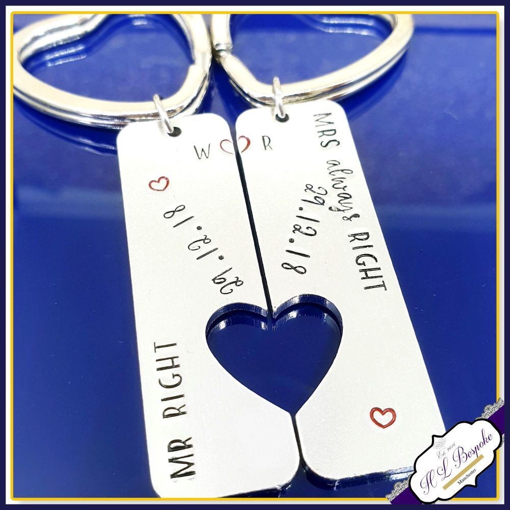 Mr Right Mrs Always Right Keyring - Personalised Couple's Keyrings - Engage
