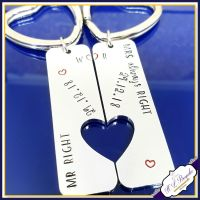 Mr Right Mrs Always Right Keyring - Personalised Couple's Keyrings - Engagement Gift - Wedding Gift - Wedding Date Gift - Funny Couples Gift