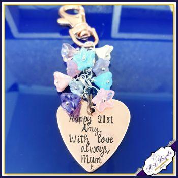 Personalised 21st Birthday Gift - 21st Flower Bag Charm - CUSTOM WORDING - 21st Birthday Gift for Her - Pretty Girly Bag Charm - 21st Gift