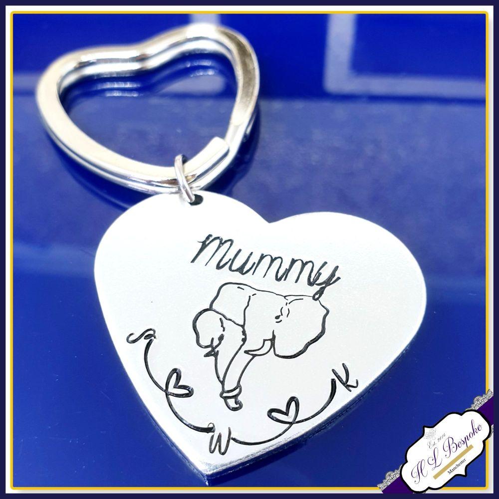 Personalised Mummy Elephant Gift - Elephant Mother's Day Keyring - Mothers