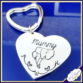 Personalised Mummy Elephant Gift - Elephant Mother's Day Keyring - Mothers Day Gift - Elephant Mummy Gift - Elephant Gift for Mum - Initials