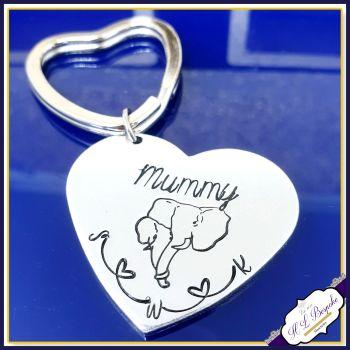 Personalised Mummy Elephant Gift - Elephant Mother's Day Keyring - Mothers Day Gift - Elephant Mummy Gift - Elephant Gift for Mum - Initials