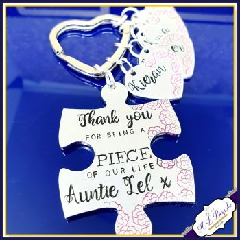 Personalised Auntie Keyring - Puzzle Piece Keyring - Thank You For Being A Piece Of My Life Keychain - Aunty Gift - Custom Wording