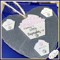 Personalised Grandma Plaque - Nanny Plaque - Hanging Slate Plaque - Little Cupcakes - Baking Grandma Gift - Mother's Day - Grandmother