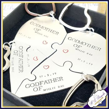 Personalised Godparent Gift Bundle - Godparent Group Gifts - Godmother Gift - Godfather - Godparent Puzzle Keychains - Godparent Keyrings