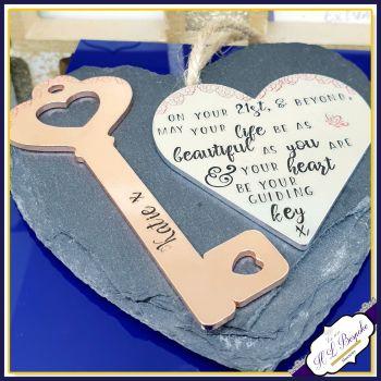 21th Birthday Gift For Her - Female 21st Birthday Gift - 21st Birthday Key Plaque - Daughter 21st Key - 21st Key - Friendship Birthday Gift