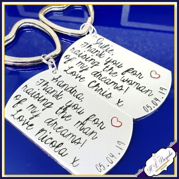 Thank You For Raising Your Son To Be The Man OF My Dreams Keyring - Personalised Wedding Keyring - Oblong Dog Tag Wedding Gift