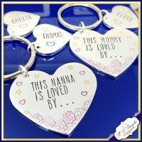 Personalised This Nanna Is Loved By Keyring - Mummy Keyring - Auntie Gift - Mother's Day Keyring - Pretty Grandma Gift - Nana Keyring