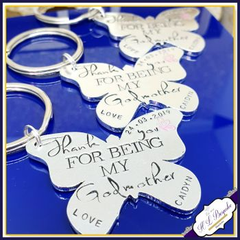 Personalised Godmother Gift - Godmother Keyring - Godmother Keychain - Thank You For Being My Godmother - Butterfly Godmother