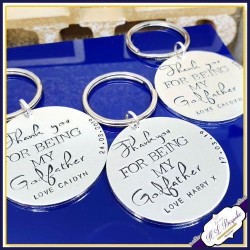 Personalised Godfather Gift - Godfather Keyring - Godfather Keychain - Than