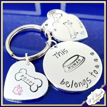 This Human Belongs To Keyring - Dog Mum Gift - Dog Owner Gift - This Human Keyring - Pet Lover Gift - Dog Lover Keyring - Dog Daddy