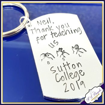 Personalised BSL Teacher Gift - BSL Teacher Keyring - Thank You Teacher Gift - Thank You BSL Gift - British Sign language Gift - Bsl Course