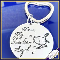 Personalised Memorial Keyring - Guardian Angel Gift - Robin Keyring - Robin Angel Keyring - In Memory Of Angel Keychain - Spiritual Gift