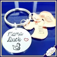 Personalised Mummy Duck Keyring - Mama Duck Keychain - Duck Gift - Mummy Duck Gift - Mummy Duck and Duckling Gift - Mum & Baby Gift -