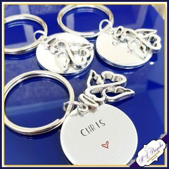 Personalised Memorial Keychain - Simple Memorial Gift - Small Memorial Keyring - Angel Keyring - Metal Memorial Keyring -Angel Memorial Gift