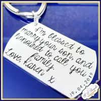 Personalised Wedding Gift Keyring - Blessed To Marry Your Son - Mother of the Bride / Father Of Bride / inc. Wedding Date & Couple's Name