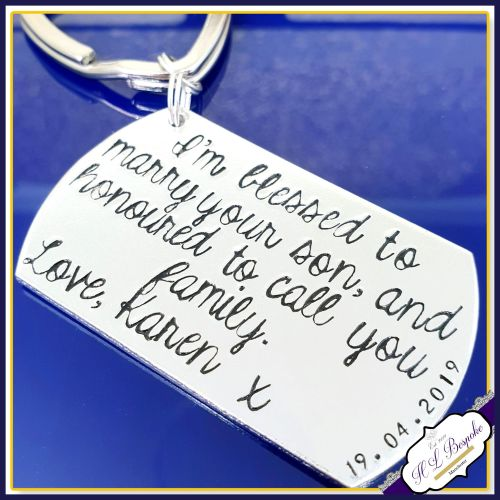 Personalised Wedding Gift Keyring - Blessed To Marry Your Son - Mother of t