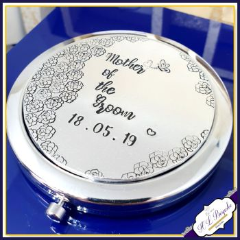 Pretty Mother Of The Bride Compact Mirror Gift - Mother Of The Groom Gift - Personalised Wedding Compact Mirror - Bride's Mother Mirror Gift