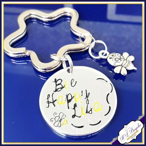 Bee Happy Keyring - Bee Gift - Be Happy Gift - Bee Happy Keychain - Be Happ