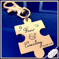 Personalised Copper 9th Wedding Anniversary Keyring - Puzzle Keychain - Copper Anniversary - 7th Anniversary Gift - 9 Years And Counting