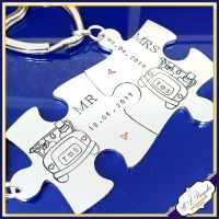 Personalised Wedding Keyrings - Puzzle Keyrings- Wedding Keychains - Mr & Mrs Gift - Interlocking Puzzle Keyrings - Jigsaw Keyrings - Day