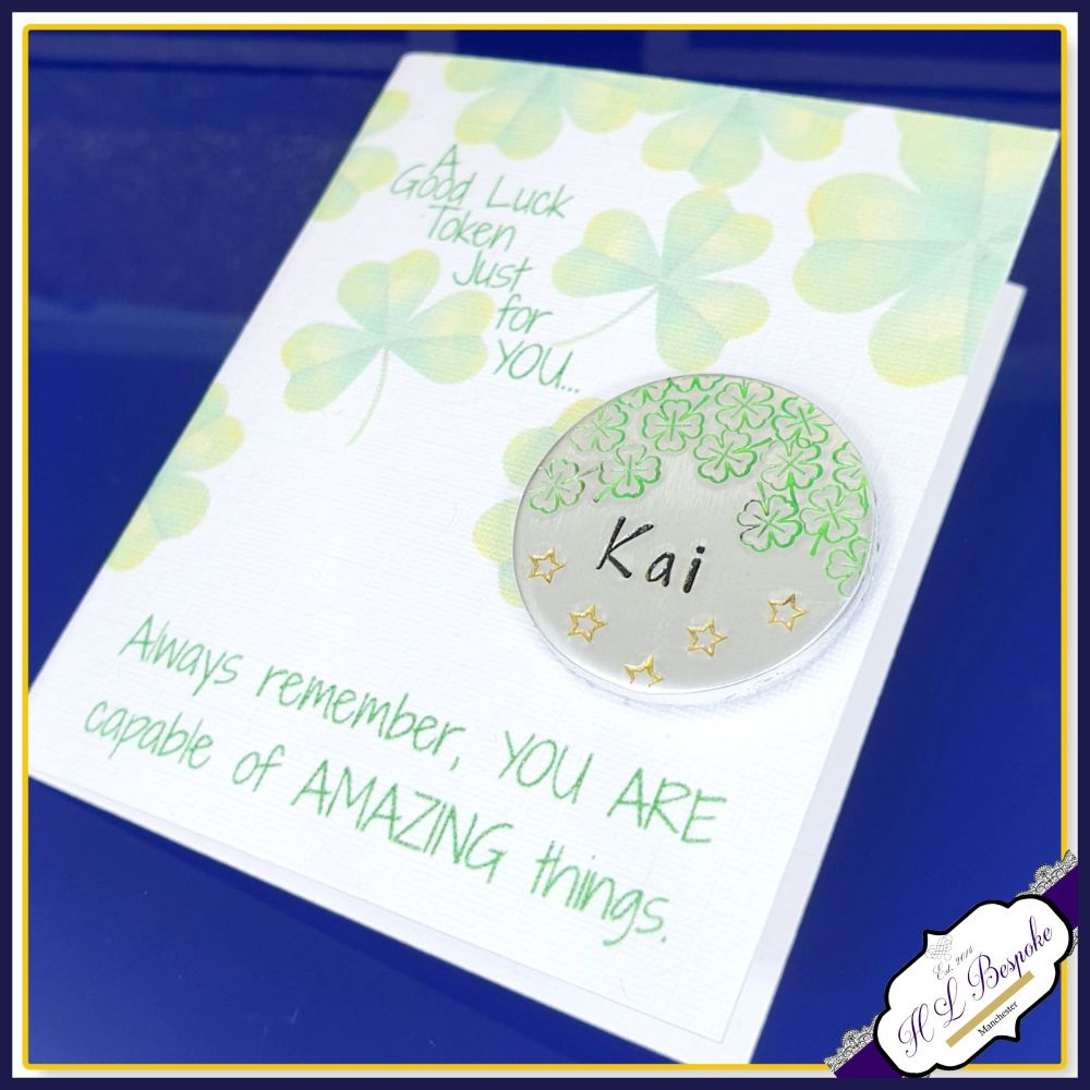 Personalised Exam Good Luck Gift - Good Luck Token With Card - Good Luck Gi