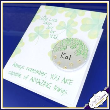 Personalised Exam Good Luck Gift - Good Luck Token With Card - Good Luck Gift Four Leaf Clover - Good Luck New Job Gift - Clover Luck Gift
