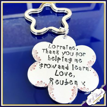 Personalised Teacher Keyring Gift - Hand Stamped with Teacher's Name and Child's - Thank You For Helping Me Grow And Learn Flower