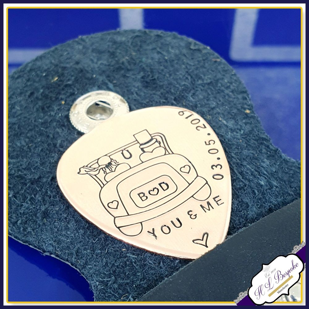 Personalised Copper Wedding Guitar Pick - Copper Groom Gift - Wedding Day G
