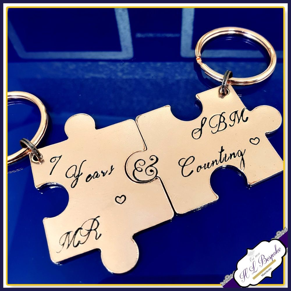 Personalised Copper 7th 9th Wedding Anniversary Keyrings - Pair Couple Puzz