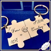 Personalised Copper 7th 9th Wedding Anniversary Keyrings - Pair Couple Puzzle Keychain - Copper Anniversary - 7th Anniversary Gift - Couple Copper