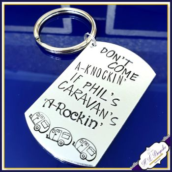 Personalised Funny Caravan Keyring - Knocking Carvan's Rocking Keychain - Caravan Holiday Gift - New Caravan Gift - Adult Caravan Gift