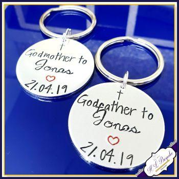 Personalised Godparent Gift - GodParent Keyring - Godfather Keychain - Godmother Keyring - Godmother To - Godfather To - Simple Christening