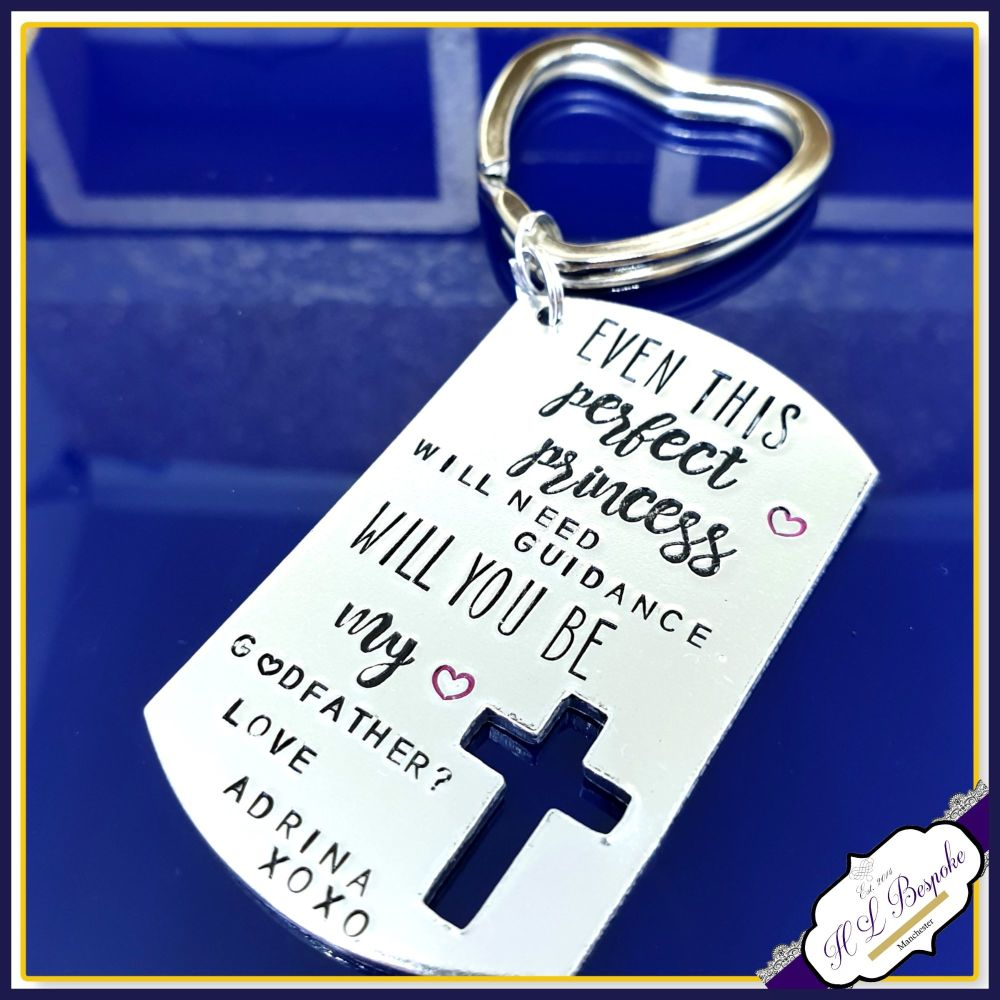 Personalised Will You Be My Godparent Gift - GodParent Keyring - Will You B