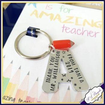 Personalised Amazing Teacher Gift - Keyring for Amazing Teacher - A Is for Amazing Teacher - Teacher Keyring - Gift For Teacher - Kaychain